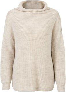 Вязаный пуловер в стиле оверсайз с высоким воротом (темно-синий/черный меланж) Bonprix