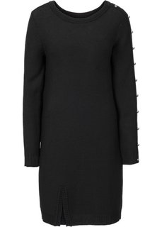 Вязаное платье с пуговицами (темно-синий/бежевый в полоску) Bonprix