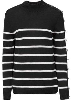 Вязаный пуловер с пуговицами (петролевый) Bonprix