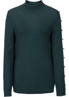 9f164d168d36 Вязаный пуловер с пуговицами (черный/светло-серый в полоску) Bonprix