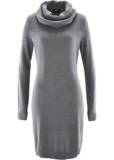 Вязаное платье с высоким воротом (кремовый) Bonprix
