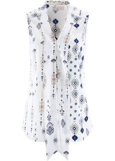Блузка с бантом и принтом (синий с рисунком) Bonprix
