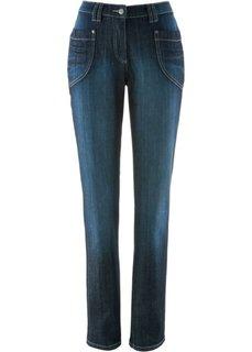 Стрейтчевые джинсы с эластичным поясом (синий «потертый») Bonprix