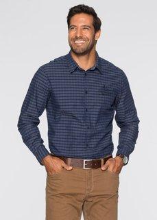 Рубашка Regular Fit с длинным рукавом (темно-синий в клетку) Bonprix