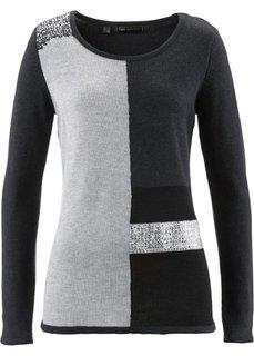 Пуловер с пайетками (светло-серый меланж/фисташковы) Bonprix
