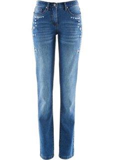 Стрейтчевые джинсы с вышивкой (кремовый) Bonprix