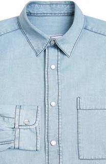 Джинсовая рубашка с контрастной прострочкой Ami