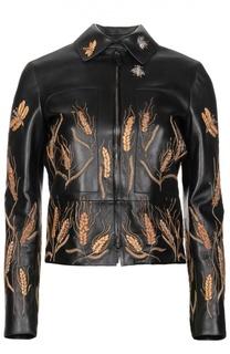 Укороченная кожаная куртка с контрастной вышивкой в виде колосьев Valentino