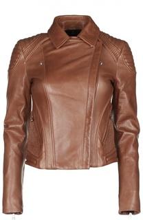 Байкерская кожаная куртка с косой молнией Belstaff