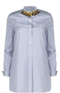 Удлиненная блуза прямого кроя в полоску с декоративной отделкой Marni