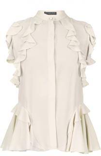 Шелковая блуза без рукавов с воланами и воротником стойкой Alexander McQueen