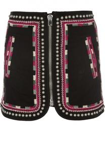 Хлопковая мини-юбка на молнии с декоративной отделкой Isabel Marant