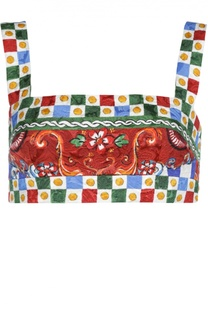 Топ-бюстье на бретельках с ярким принтом Dolce & Gabbana