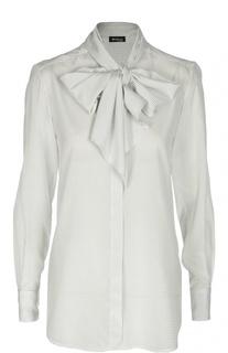Шелковая блуза в горошек с бантом Kiton