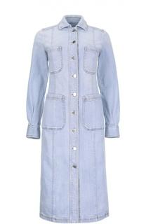 Джинсовое платье-миди на заклепках с накладными карманами Stella McCartney