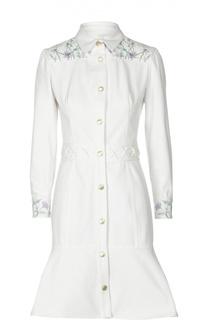 Платье-рубашка с юбкой годе и вышивкой Alexander McQueen
