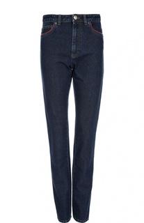 Прямые джинсы с завышенной талией и контрастной отделкой Sonia Rykiel
