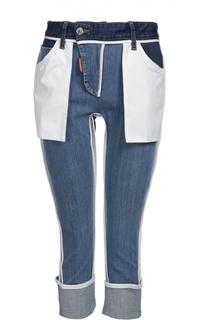 Джинсы-скинни с декоративными накладными карманами и отворотами Dsquared2