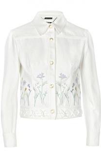 Джинсовая куртка с вышивкой и декоративной шнуровкой Alexander McQueen