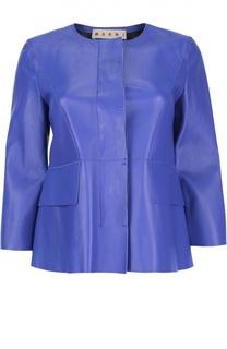 Кожаная куртка с укороченным рукавом и круглым вырезом Marni