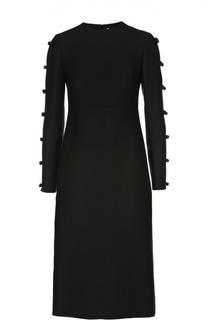Облегающее платье с завышенной талией и декоративной отделкой Valentino