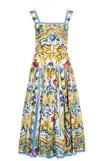 Приталенный сарафан с юбкой в складку и цветочным принтом Dolce & Gabbana