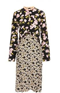 Шелковое платье-миди с цветочным принтом Marni