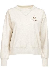 Укороченный свитшот со спущенным рукавом и логотипом бренда Isabel Marant Etoile