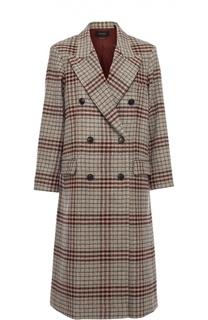 Двубортное пальто в клетку с широкими лацканами Isabel Marant