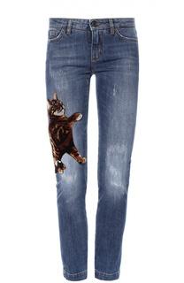 Укороченные джинсы-скинни с отделкой Dolce & Gabbana