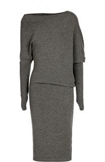 Кашемировое приталенное платье с асимметричным вырезом Tom Ford