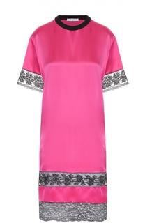 Шелковое платье прямого кроя с кружевными вставками Givenchy