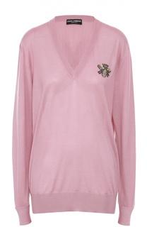 Кашемировый удлиненный пуловер с декоративной отделкой Dolce & Gabbana
