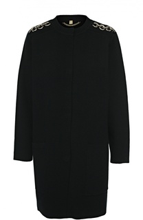 Пальто с круглым вырезом и декоративными погонами Burberry