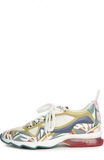 Комбинированные кроссовки с принтом Fendi