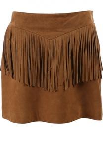 Кожаная юбка Saint Laurent