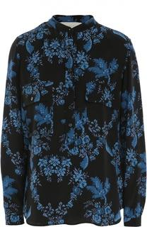 Шелковая блуза с накладными карманами и цветочным принтом Stella McCartney