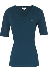Приталенная футболка с V-образным вырезом и удлиненным рукавом Escada Sport