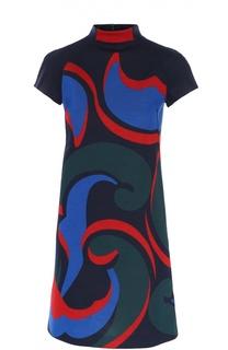 Мини-платье с ярким принтом и воротником-стойкой Escada Sport