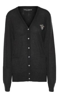 Удлиненный кашемировый пуловер с декоративной отделкой Dolce & Gabbana