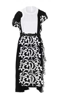 Приталенное кружевное платье-миди с ремнем Sacai