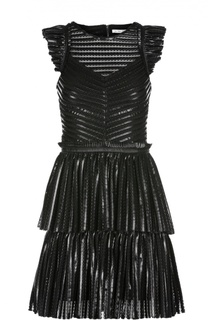 Фактурное мини-платье с бахромой Maje