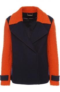 Укороченное пальто с широкими лацканами и контрастной отделкой Diane Von Furstenberg