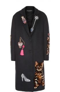 Пальто прямого кроя с контрастной декоративной отделкой Dolce & Gabbana