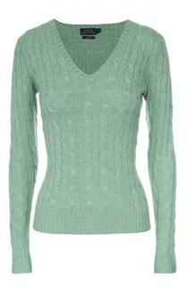 Кашемировый приталенный пуловер фактурной вязки Polo Ralph Lauren