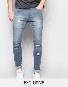 Рваные байкерские джинсы скинни выбеленного серого цвета Liquor & Poker - Серый