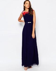 Платье макси с цветочным принтом на топе Little Mistress Tall - Темно-синий