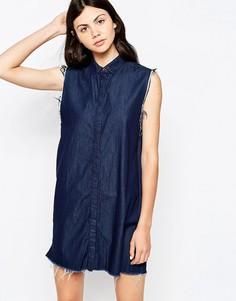 Джинсовое платье мини на пуговицах без рукавов Dr Denim - Синий
