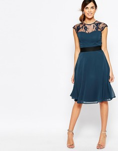 Платье миди для выпускного с вырезом сердечком и кружевным топом Elise Ryan - Темно-синий
