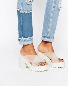 Массивные сабо на каблуке с перекрестными ремешками Miista Rolanda - Розовый